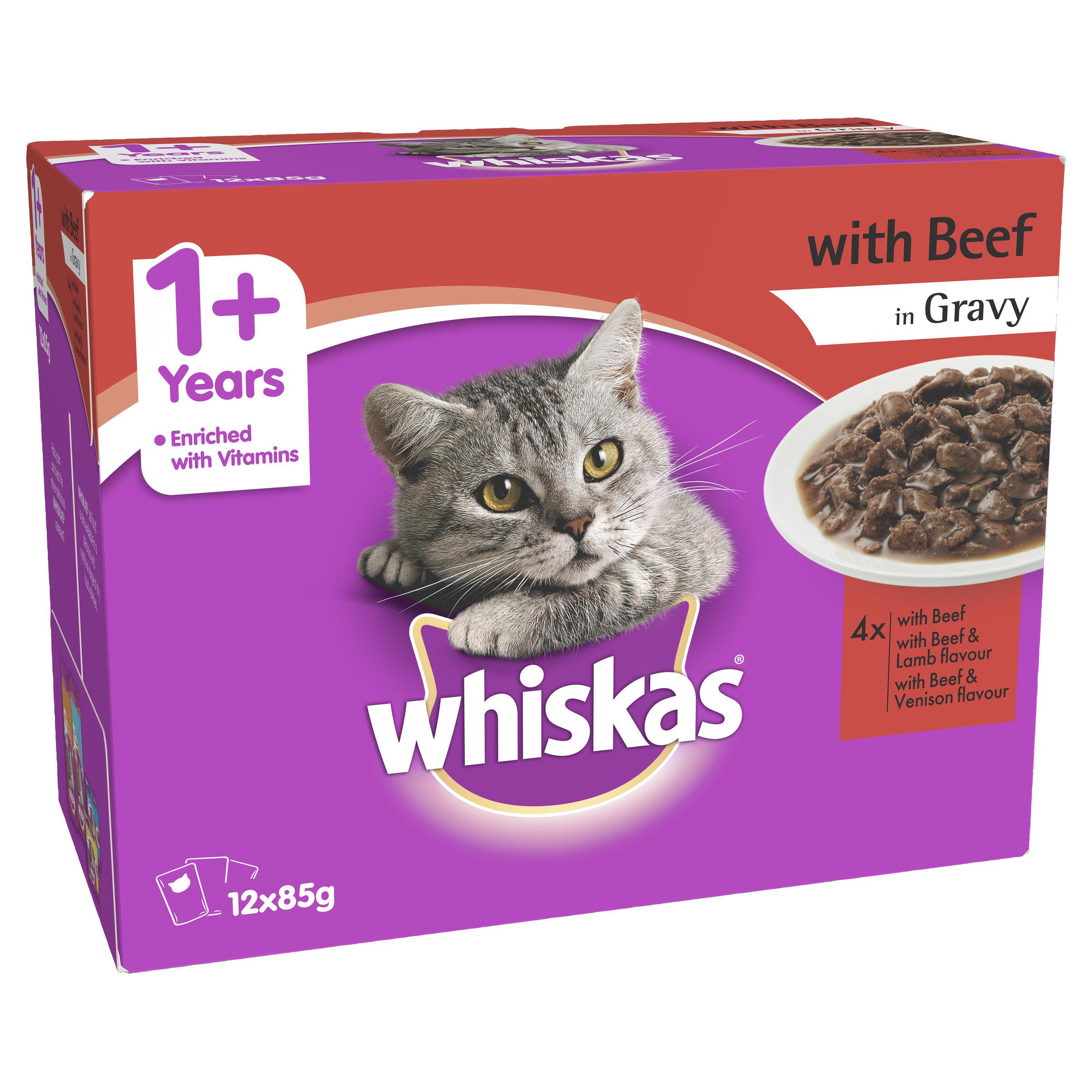 Whiskas 1 Years Beef In Gravy Wet Cat Food Peto