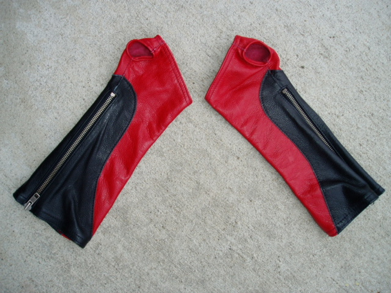 Black/Red Combo Leather Arm Chaps