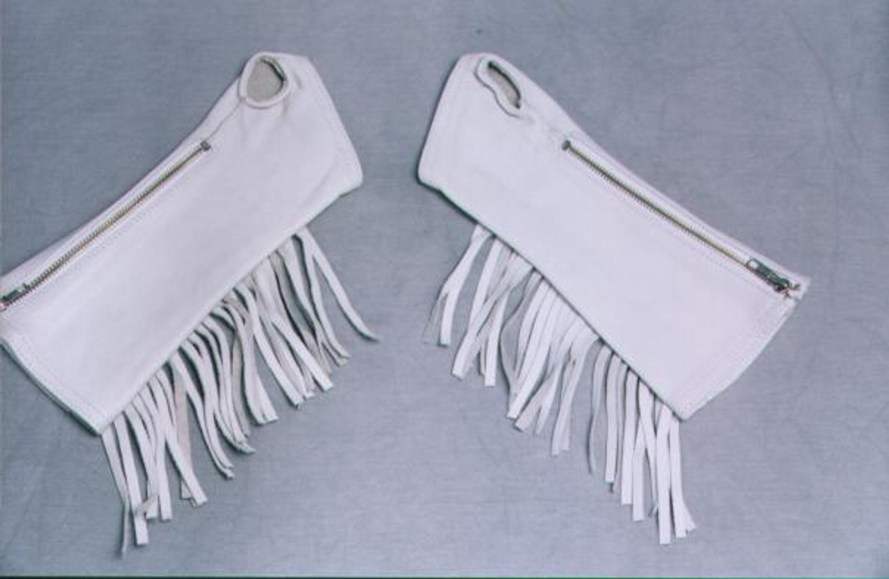 White Fringed Leather Arm Chaps