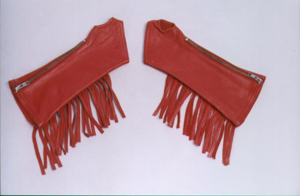 Red Fringed Leather Arm Chaps