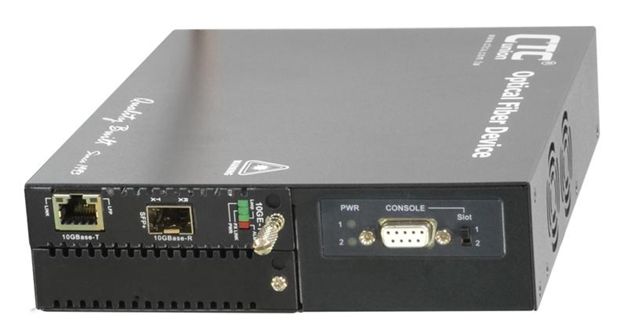 FRM220-10GC-TS - 10G Ethernet RJ45 copper to SFP+ slot media converter  managed