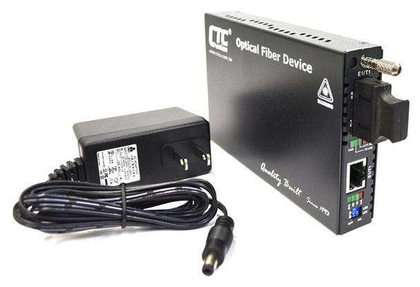FRM220-E1-T1R series fiber converter with ST connectors