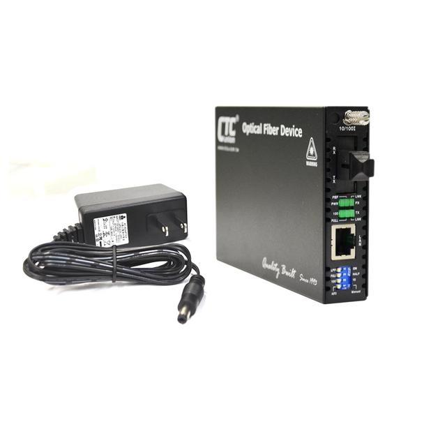 FRM220-10/100-SC20A Fast Ethernet WDM BiDi single strand singlemode fiber converter, 20Km A type with AC adapter