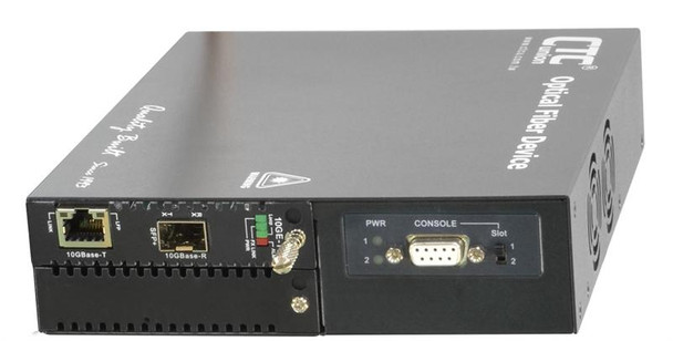 FRM220-10GC-TS - 10G Ethernet RJ45 copper to SFP+ slot media converter managed with AC PS and serial console
