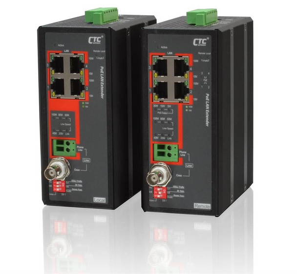 IEXT224-4PH VDSL2 LAN Extender pair with remote powered unit and 30W PoE delivered over phone line or coaxial cable