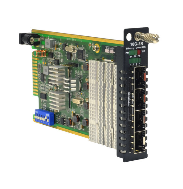 FRM220-10G-3R - 10G rate SFP+ to SFP+ slot media converter (transponder), configurable for two independent channels or optical protection,  card format
