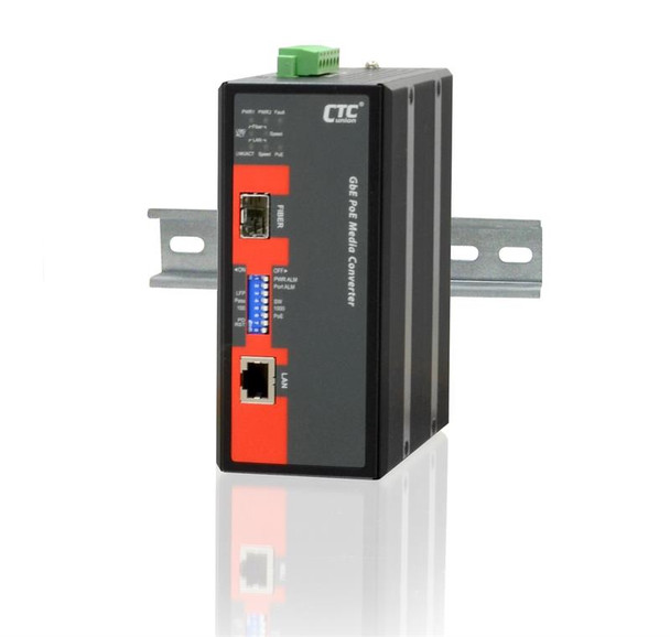 IMC-1000S-PHE12 - Gigabit Ethernet to SFP slot industrial fiber media converter with PoE 30W output, -20-75 Celsius