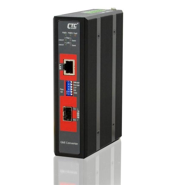 IMC-1000S-E - Gigabit Ethernet to SFP slot industrial fiber media converter DIN rail, 2.5kV isolation, -20-75 Celsius