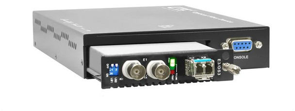 FRM220-DS3-E3-CH01MAC - coax E3 / DS3 over fiber (SFP slot)media converter w/ console mgmt and embedded AC PS