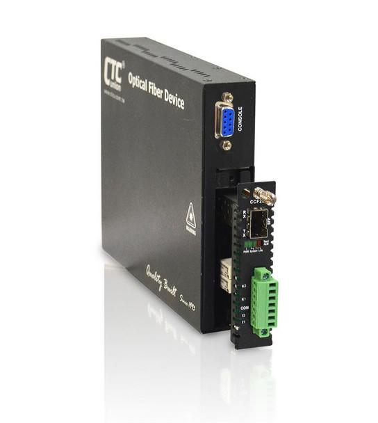 FRM220-CCF20 - duplex dry relay contact closure over fiber extender with SFP slot