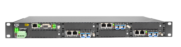 "FRM220-CH08 - 8 slot fiber chassis with dual power and network management options, rack 19"", 1RU"
