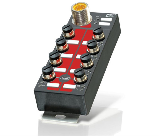 ITP-800-8PHE24 - 8 port Fast Ethernet PoE 30W Industrial switch IP67 waterproof, EN50155, -40 to +75 Celsius