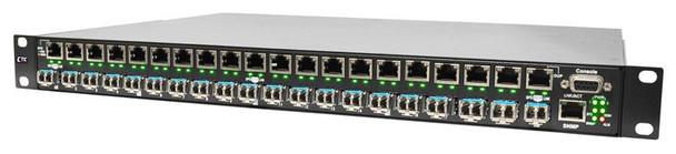 "PHB-200M-AA - Gigabit 20 port SFP managed patching hub, 10/100/1000Base-TX to 100/1000Base-X SFP, SNMP, rack 19"", redundant AC power"