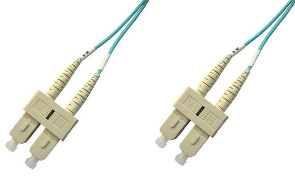 SCP-SCP-MD5A-1M - SC/PC to SC/PC multimode OM3 aqua 50/125 duplex fiber optic patch cord cable