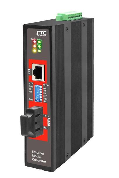 IMC-100-E-SC002 - Fast Ethernet 10/100Base-TX multimode fiber industrial media converter 2Km, 2.5kV isolation, -40 - 75 Celsius