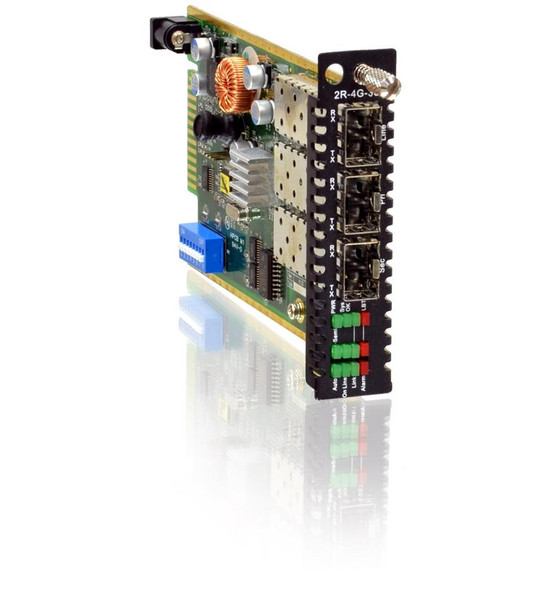 FRM220-4G-3S SFP to SFP media converter (repeater) up to 4Gbps rate with optical protection, managed, card format