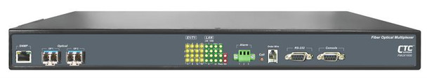 FMUX1600-AD - 16 E1/ T1 with full Gigabit Ethernet and redundant SFP optic link Fiber Optic Multiplexer - AC and DC powered front view