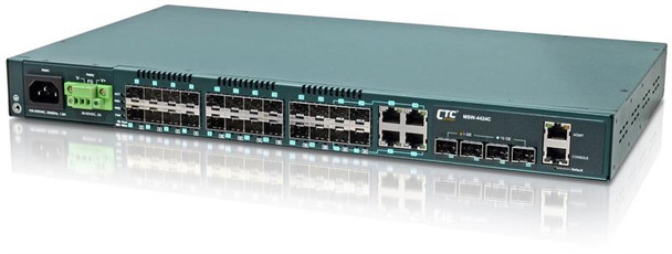 MSW-4424C-AA - Gigabit Ethernet 24 SFP ports with 4 10G SFP+ ports, Layer 2 managed switch, dual redundant AC power, rack 19""