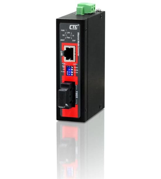 IMC-100C-E-SC002 compact Fast Ethernet multimode fiber industrial media converter 2Km, extreme temp.