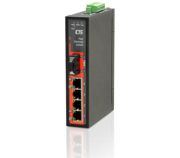 IFS-401F-E-SC030 - 4+1 port Fast Ethernet Industrial singlemode fiber switch, DIN rail mount, -40 to +75 Celsius