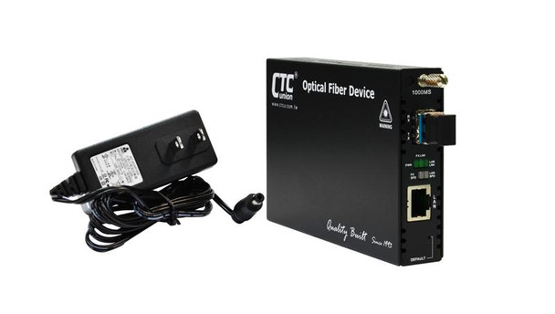 FRM220-1000MS-SM10 Gigabit Ethernet 1000Base-LX singlemode fiber media converter 1310nm LC 20Km, managed with AC adapter