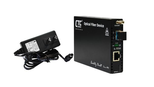 FRM220-1000MS-SM10 Gigabit Ethernet 1000Base-LX singlemode fiber media converter 1310nm LC 20Km, managed with AC adapter
