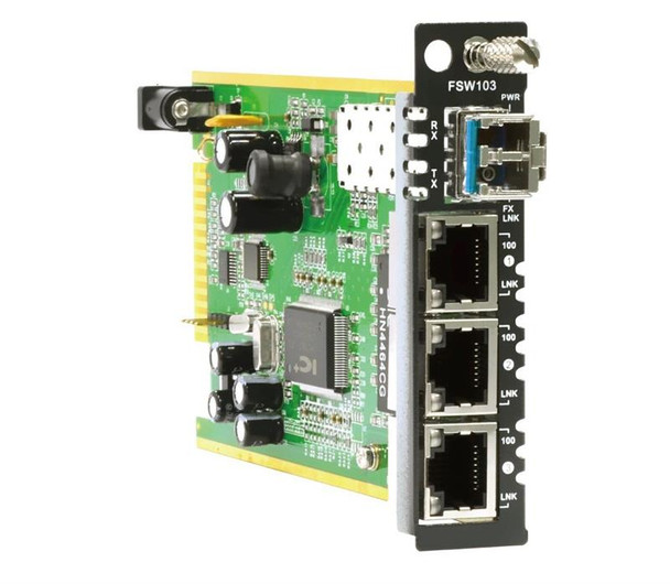 FRM220A-FSW103 Fast Ethernet managed switch card, 3x10/100Base-Tx + 1x100Base-X SFP slot