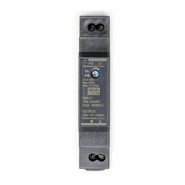 HDR-1524 AC to DC 24V 15W Industrial DIN rail power supply - front panel
