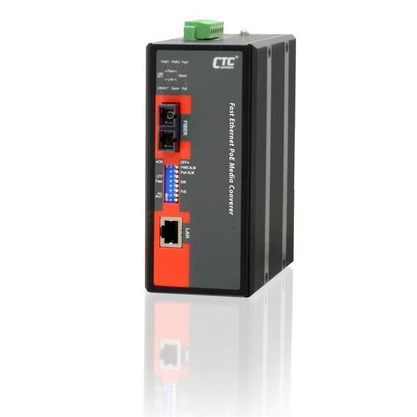 IMC-100-PHE12-SC030 - Fast Ethernet to singlemode 30Km industrial fiber media converter with PoE 30W output, -20-75 Celsius