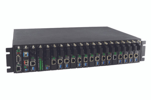 FRM220-CH20 - 20 slot fiber chassis with dual power and network management options, rack 19""