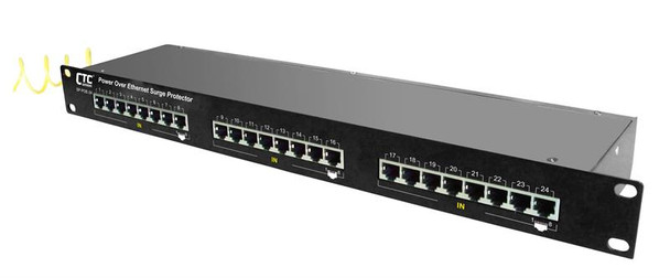 SP-POE-24 24 port full 8 pin Cat6 RJ45 Ethernet surge protector with PoE IEEE 802.3af support