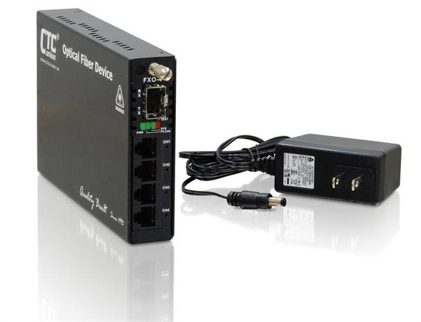 FRM220-FXO-4 - Four POTS (RJ11) FXO telephone lines over fiber multiplexer, SFP slot
