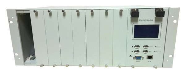 """OLPS-4RM-DD - Optical Line Protection System 8 slot chassis with dual power and network management options, rack 19"""", 4RU"""