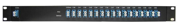 DWDM passive mux/demux filter 16 duplex channels over fiber, 100GHz spacing, fully customizable, rack 19""