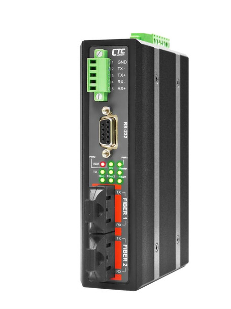 IFC-FDC-SC002 - RS-232, RS-485, RS-422 over daisy chain dual port multimode fiber industrial media converter, 2Km, 2.5kV isolation, -10-60 Celsius