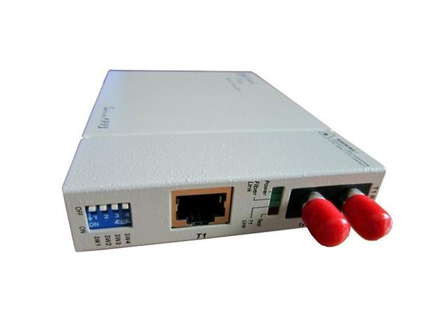 FIB1-T1R-ST2F - T1 RJ45 100ohm to multimode 1310nm fiber optic media converter (T1 modem), 2Km, ST connector
