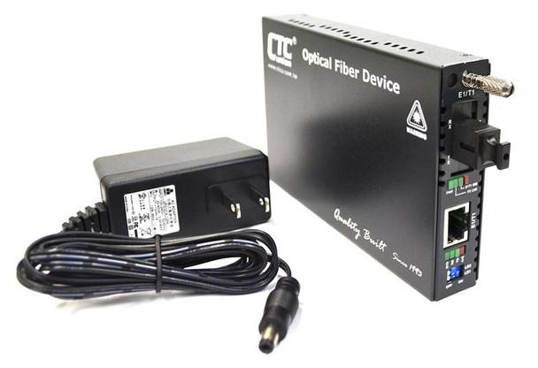 FRM220-E1-T1R-SC02A - T1 RJ45 100ohm (and E1 120ohm) to single strand BiDi Tx:850nm/Rx:1310nm multi-mode fiber media converter (T1 modem), 2Km