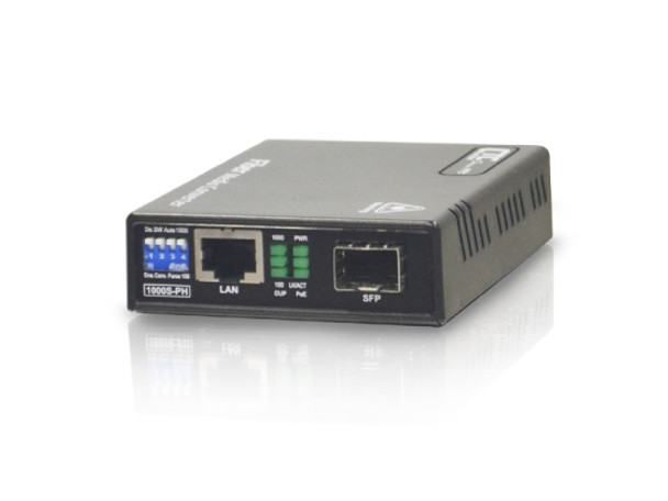 FMC-1000S-PH Gigabit Ethernet 10/100/1000BaseTx to SFP slot fiber media converter with PoE+ 30W injector (separate AC adapter included)