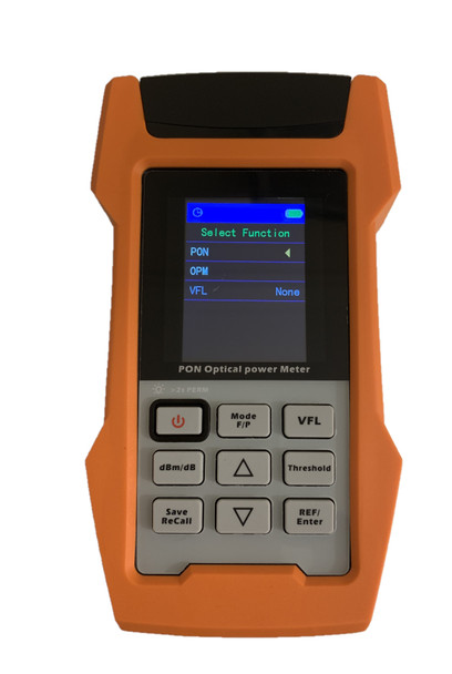 RPONPM-600 - PON Optical Power Meter for ONU and OLT measuring with internal storage memory and USB connectivity - front view