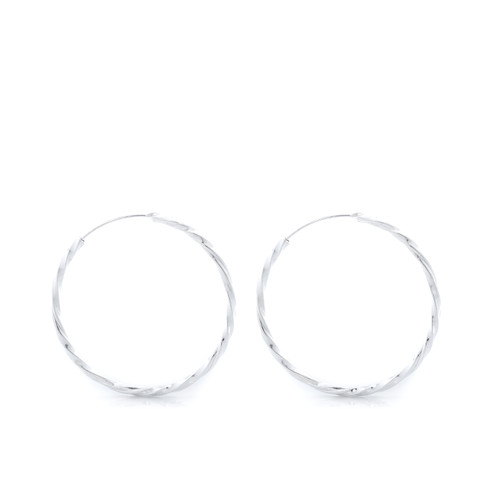 Medium Twisted Hoops - Silver