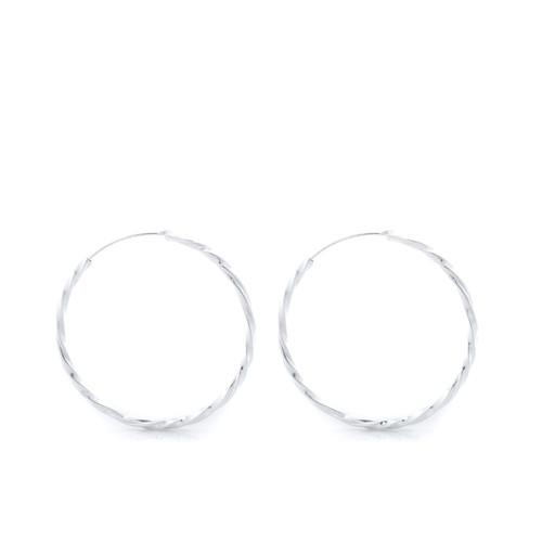 Medium Twisted Hoops - Silver