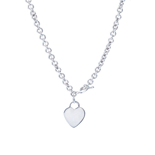 Solid Heart Necklace - Silver