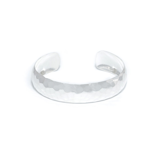 Hammered Thick Cuff - Silver
