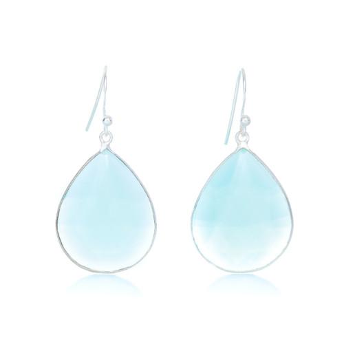 Piece Aura Earring - Silver/ Mint Chalcedony