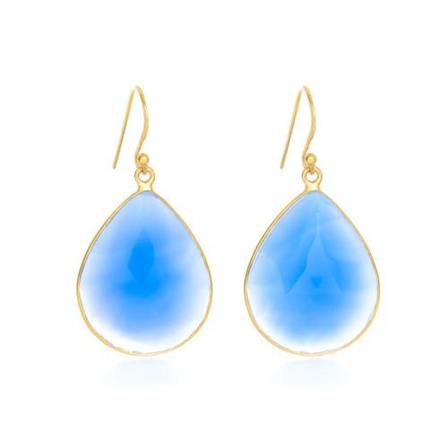 Piece Aura Earring - Gold/ Blue Chalcedony