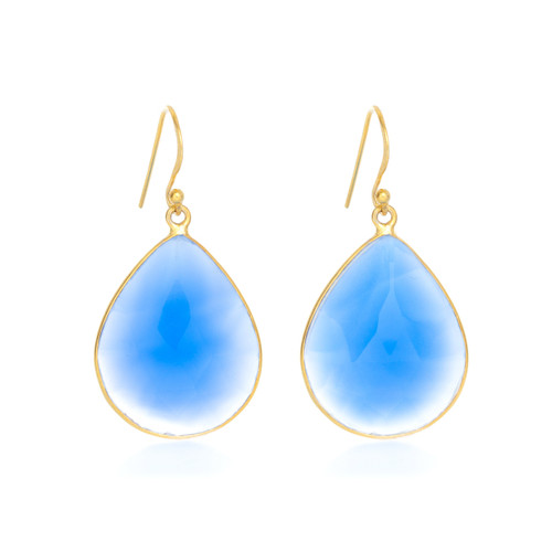 Piece Aura Earring - Gold/ Blue Chalcedony