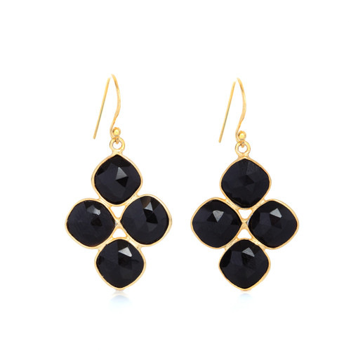 Piece Celestial Cluster Earrng - Gold/ Black Onyx