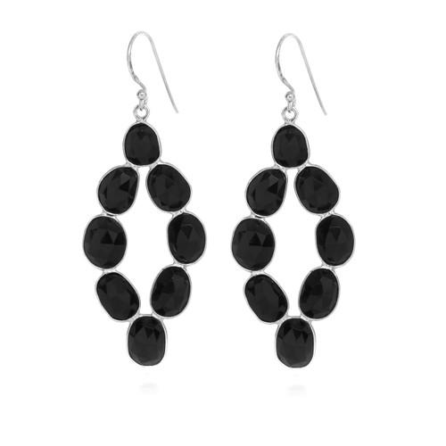 Piece Moon Dance Earring - Silver/ Black Onyx