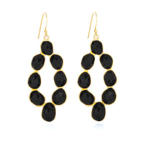 Piece Moon Dance Earring - Gold/ Black Onyx