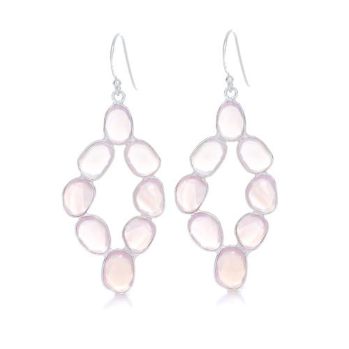 Piece Moon Dance Earring - Silver/ Pink Agate